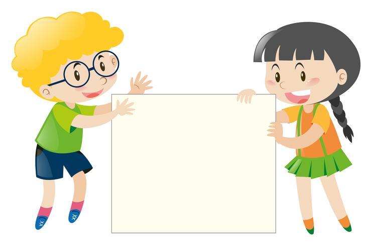 Pojke och tjej med blank skylt vektor