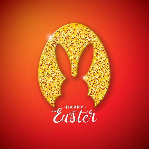 Disegno di vacanze di buona Pasqua con sagoma di coniglio in uovo glitterato
