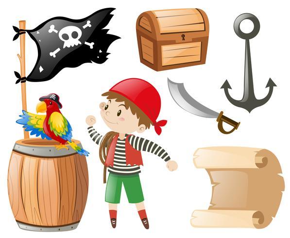 Conjunto pirata con muchos artículos y pirata.