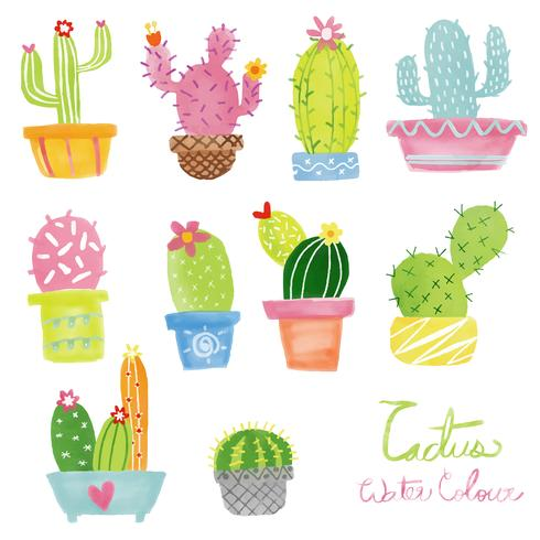 Pastell Aquarell Kaktus Vektor festgelegt
