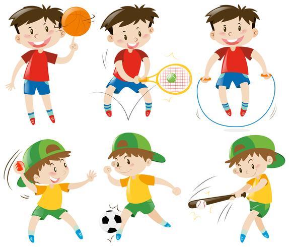Rapazes fazendo diferentes tipos de esportes