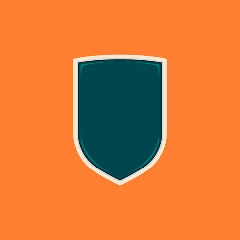 Simple basic shield badge shape blank template vector