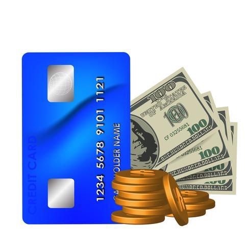 Fatture del dollaro realistico, una carta e monete su una priorità bassa bianca