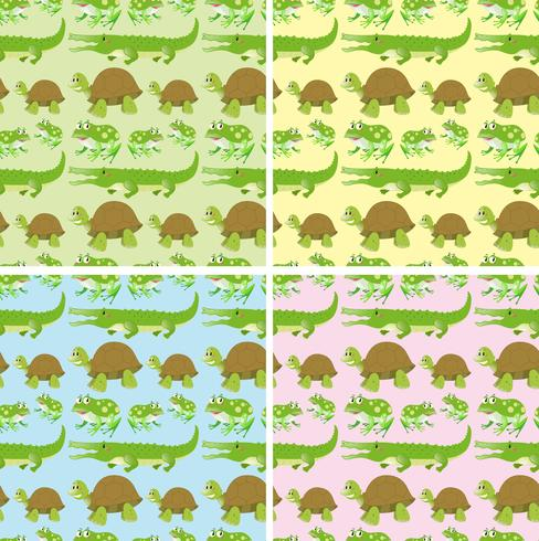 Seamless background with reptile animals vector