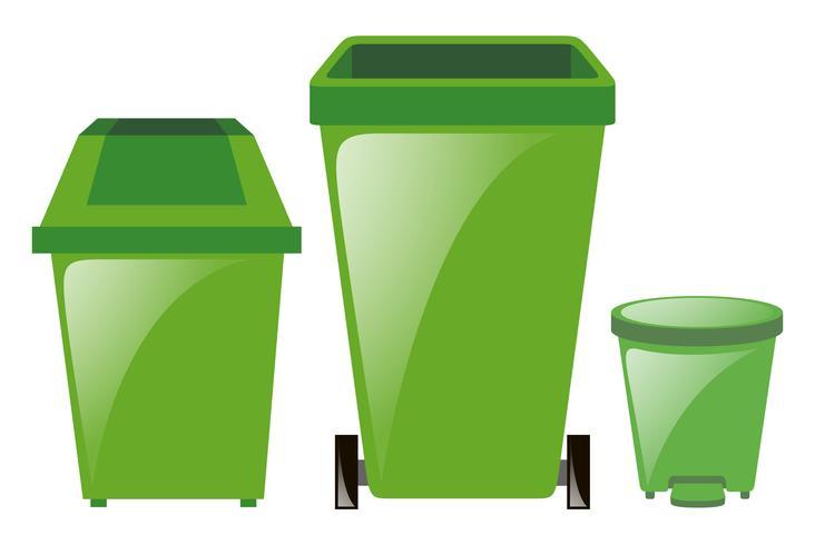 Groene vuilnisbakken in drie verschillende maten