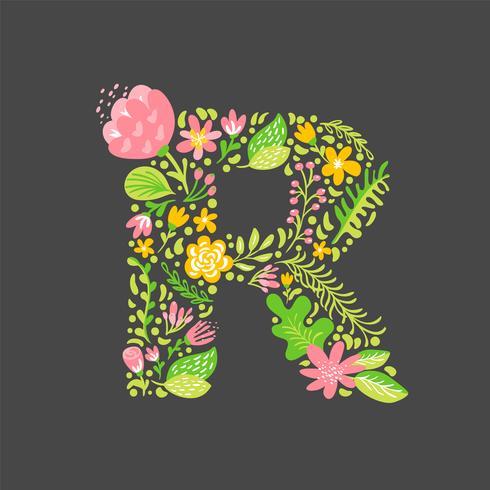 Floral summer Letter R vector