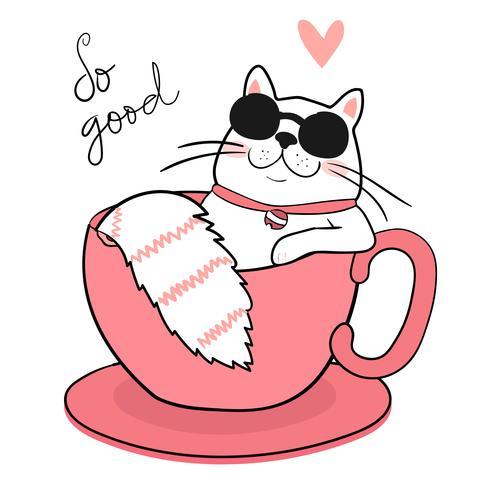 lindo gato gordo blanco con gafas de sol durmiendo en una taza de café, dibujar
