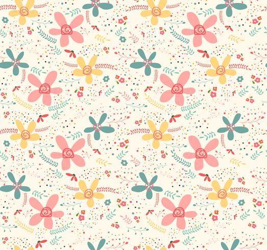 Leuk doodle tropisch eindeloos naadloos de pastelkleurornament van de bloem vector
