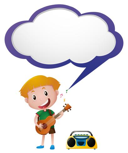 Speech bubble template with boy playing guitar vector