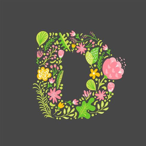 Été Floral Lettre D vecteur