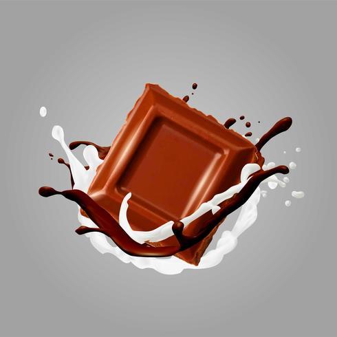 Chocolate En Splash. Ilustracion vectorial