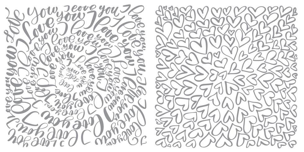 Text blomstra kalligrafi vintage kärlek och hjärtan vektor