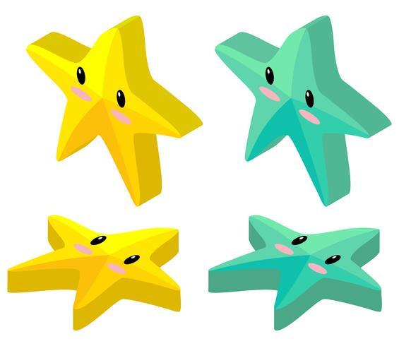 Stelle marine gialle e verdi nella progettazione 3D vettore