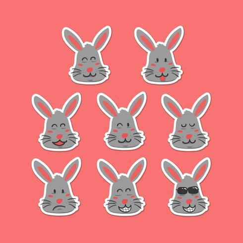Söt kanin emoji smiley ansikte uttryck sätts i handrit tecknade stil