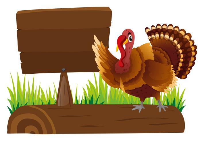 Wooden sign template and turkey on log