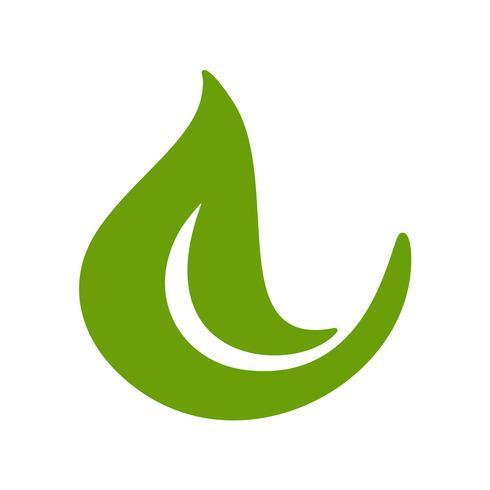 Logo della foglia verde di tè. Icona di vettore dell'elemento della natura di ecologia fresca. Illustrazione disegnata a mano di bio calligrafia di eco vegano