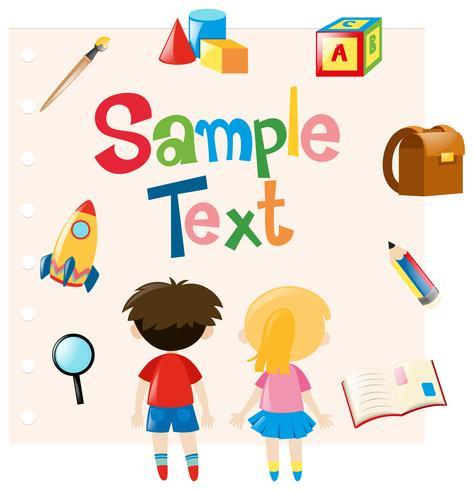 Paper template with kids and school materials vector