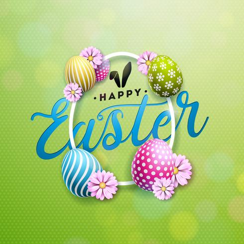Happy Easter Illustration with Colorful Flower and Painted Egg  vector
