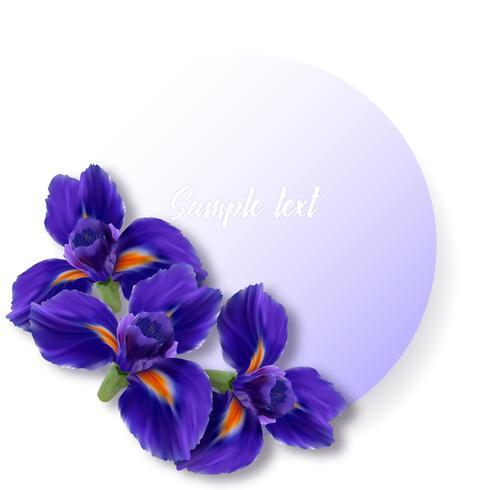 Etiquette ou carte ronde avec des fleurs d'iris réalistes