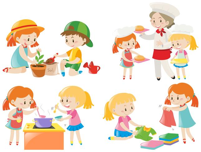Kids doing different chores vector