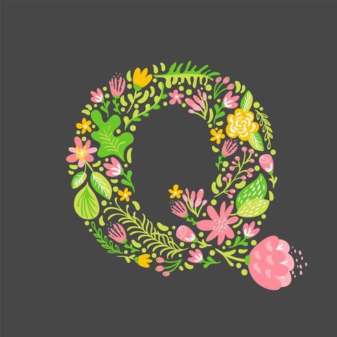 Floral summer Letter Q vector