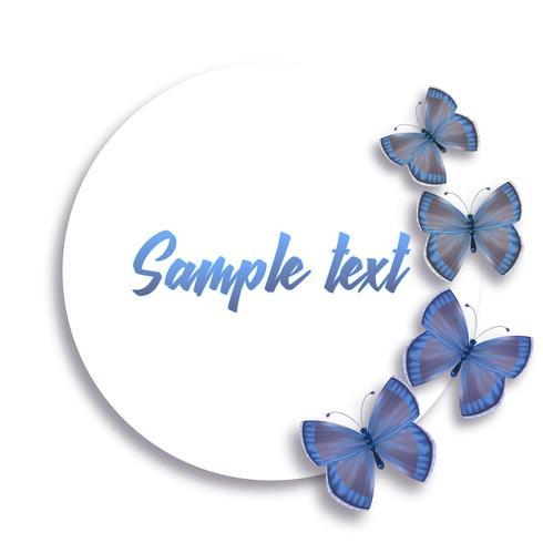 Ilustración redonda con mariposas azules realistas y lugar para texto