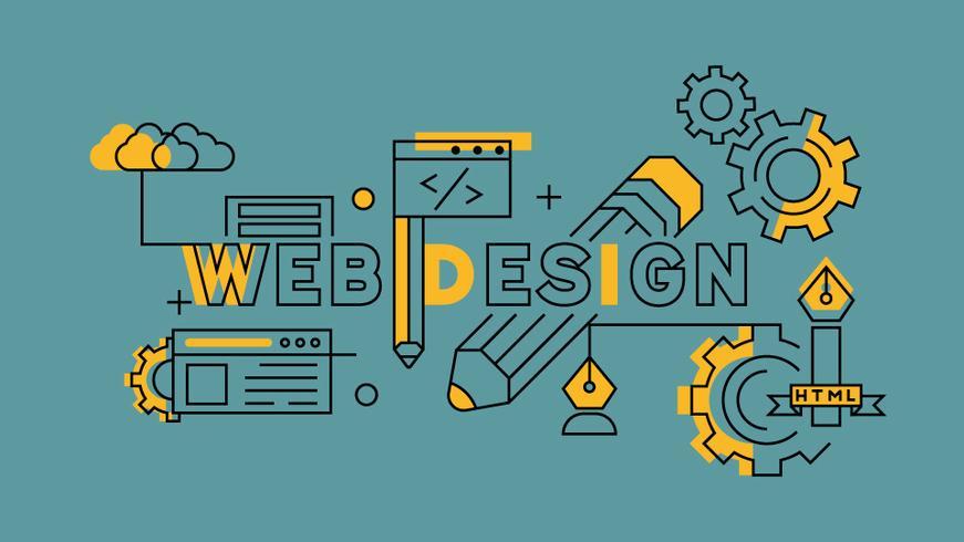 Web design Orange in Blue Line Design. Illustrazione di sviluppo del sito Web o pagina di destinazione. Industrie imprenditoriali e tecnologiche