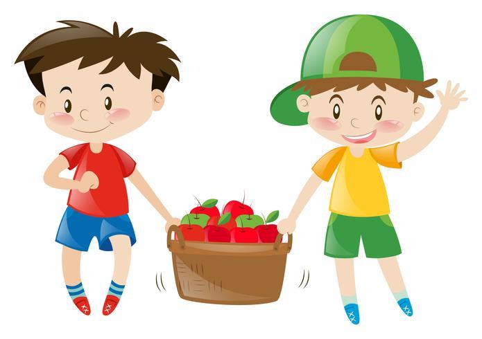 Dos niños cargando una cesta llena de manzanas.