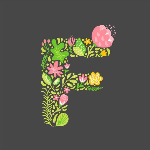 Blommig sommar Letter F vektor