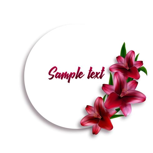 Round card or label with realistic lily flowers