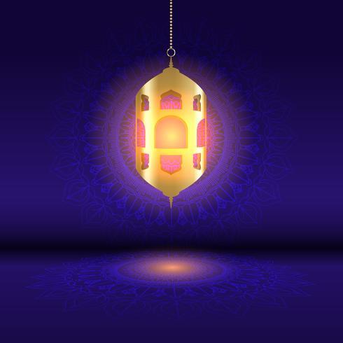 Ramadan bakgrund med hängande lykta på mandala design