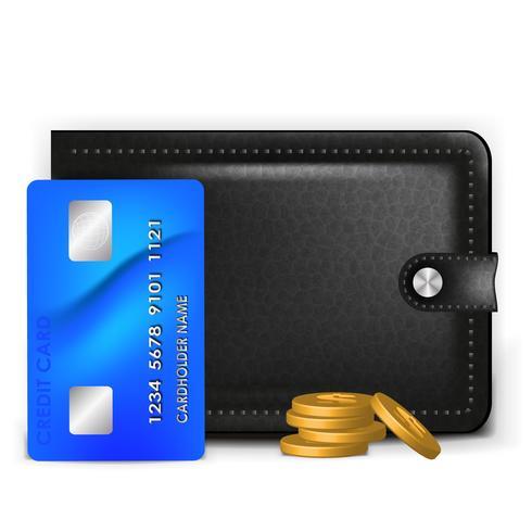 Un portafoglio realistico con una carta di pagamento e monete