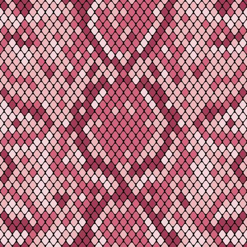 Patrón sin costuras de piel de serpiente. Textura realista de serpiente u otra piel de reptil. Colores morados rosa. Vector illustartion