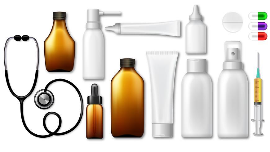 Emballages médicaux pharmaceutiques vides 3d: contenant pour supplément, vaporisateur pour médicaments. Maquette de paquet propre pour le médicament. Illustration vectorielle définie pour la conception de l'emballage avec une étiquette vierge. vecteur