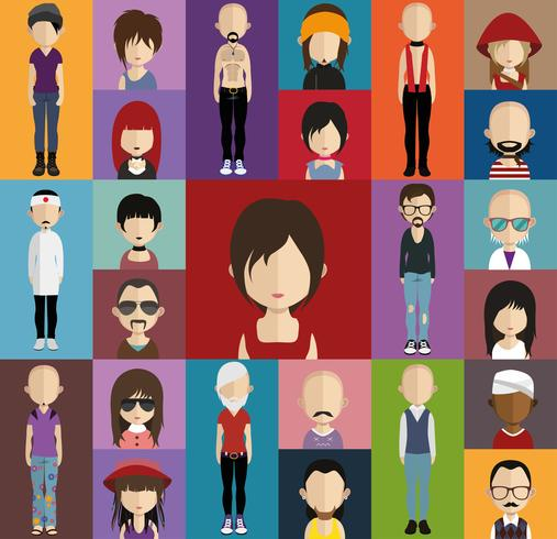 People avatar with full body and torso variations vector
