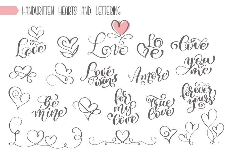 Gran set de letras escritas a mano sobre el amor. vector