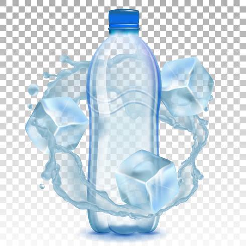 Botella de plástico realista con un toque de agua y cubitos de hielo. Ilustración vectorial