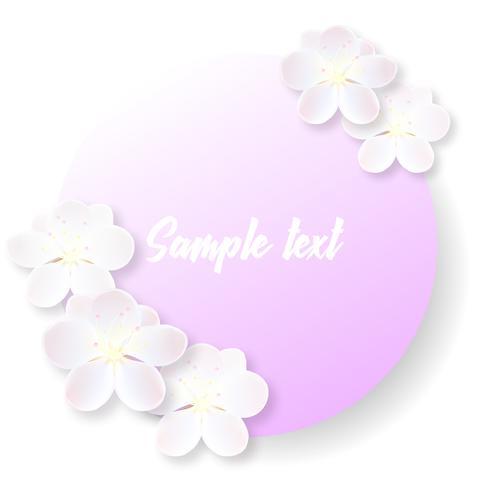 Etiqueta redonda o adhesivo con delicadas flores de sakura.