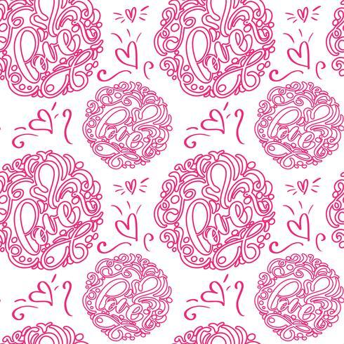 Patrón sin fisuras con mano pintada de San Valentín amor y corazón