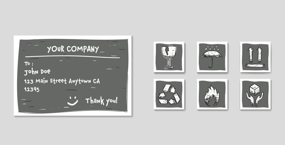 Shipping label set with package icon set in doodle sketch style with glass fragile, handle with care, flammable, upward arrow, keep dry, and recycle vector