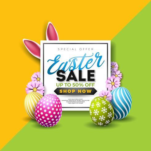 Ilustração de venda de Páscoa com ovo pintado de cor e elemento de tipografia