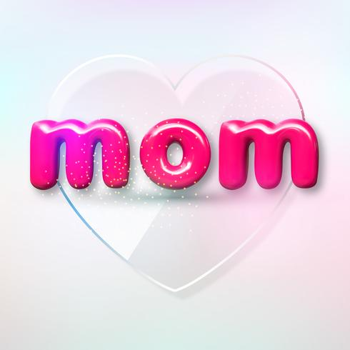 Happy Mothers Day. Vector holiday illustration with text label. Realistic 3d spring banner. I love you mom. Holiday sale or offer sign