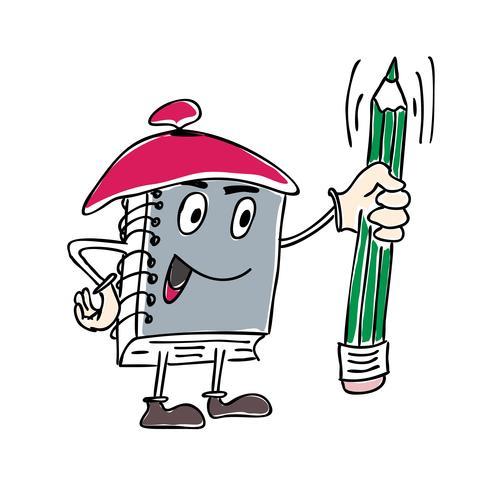 Ilustración vectorial de la mascota del cuaderno de caracteres con una pluma vector