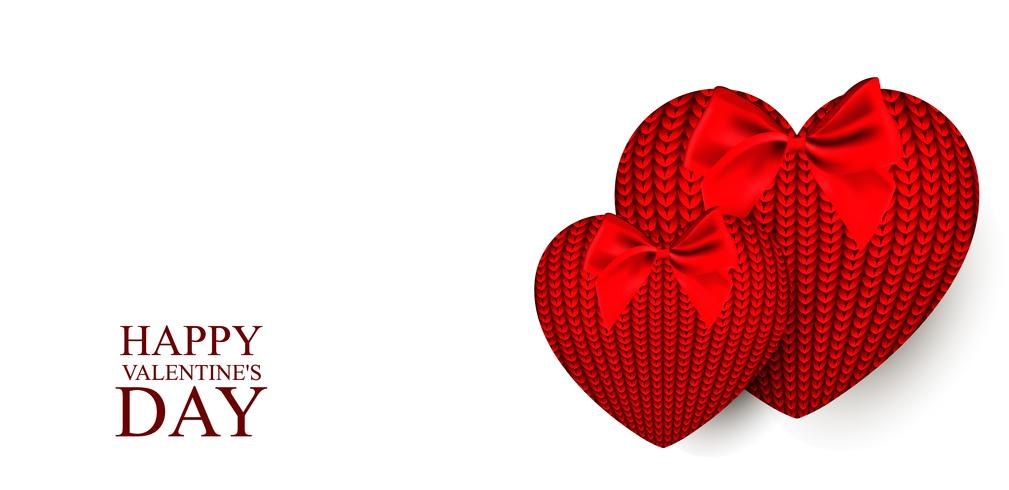 Knitted hearts for Valentine's Day. Vector illustration on white background.