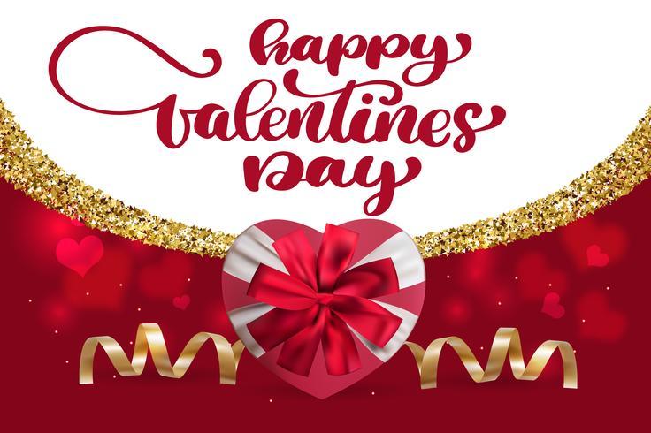 Progettazione di iscrizione felice di vettore del disegno della mano di giorno di biglietti di S. Valentino. Scheda con cuore scatola regalo
