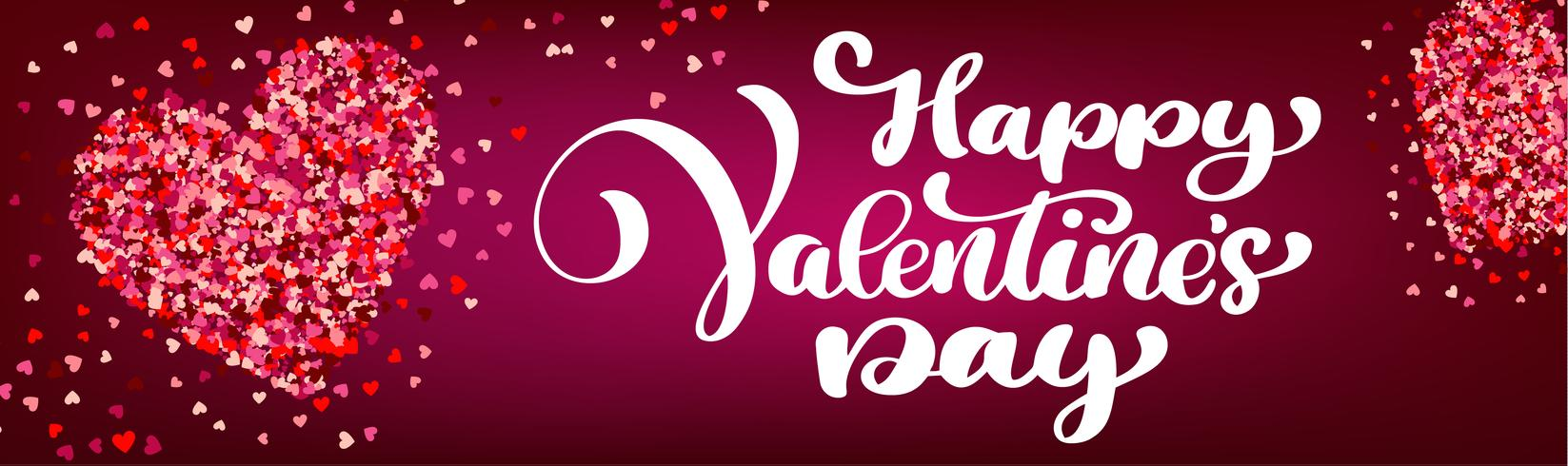 Testo lettering Happy Valentines day banner