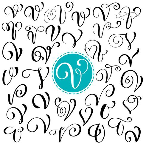 Set van hand getrokken vector kalligrafie letter V