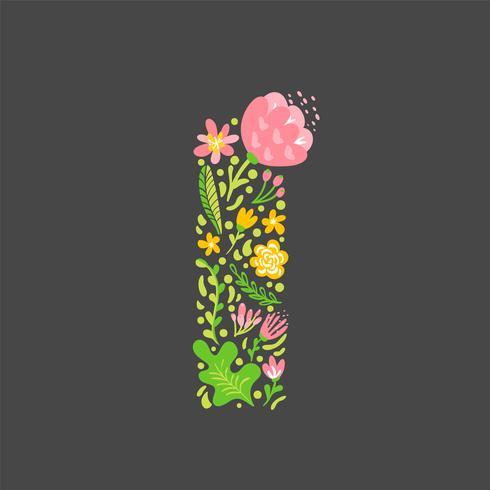 Lettre d'été floral I vecteur