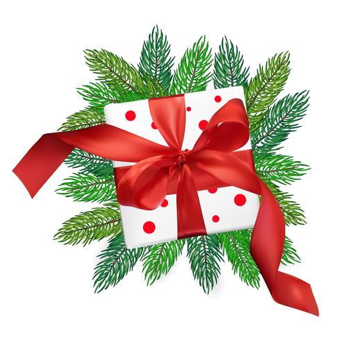 Caja de regalo de malla de Navidad vector realismo con un lazo rojo