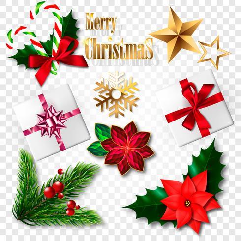Set di elementi realistici di Natale. Illustrazione vettoriale